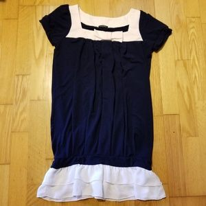 Crystal Myth Navy Blue Chiffon Ruffle Bow Top